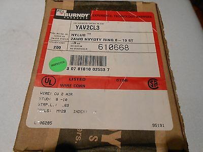BURNDY YAV2CL3 COPPER COMPRESSION LUGS 8-10 STUD Hylug AN2 2 AWG NIB BOx of 200