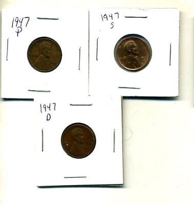 1947 P,d,s Wheat Pennies Lincoln Cents Circulated 2X2 Flips 3 Coin Pds Set#3114