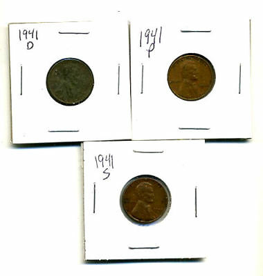 1941 P,d,s Wheat Pennies Lincoln Cents Circulated 2X2 Flips 3 Coin Pds Set#1299