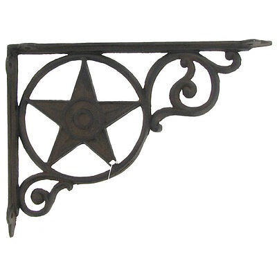 TWO Antique Style BLACK Star Shelf Brackets Cast Iron Wall Brace Metal. Western