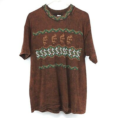Vintage Native American Indian Art Kokopelli T Shirt XL Copper Brown Made In USA