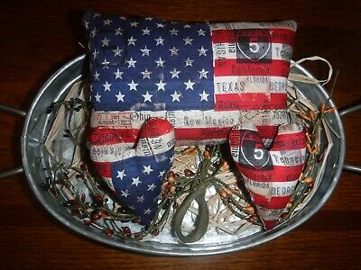 Primitive Flag & 2 Hearts Mini Pillows Rustic Americana Ornies Bowl Filler