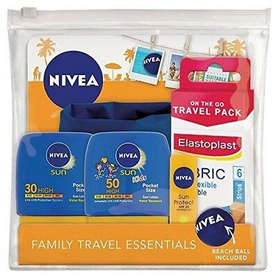 NEW NIVEA Sun Family Travel Essentials Set incl Beach Ball & Plasters