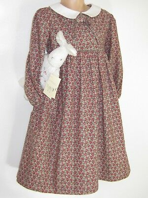 LAURA ASHLEY VINTAGE 80s COUNTRY OAKLEAF FLORAL GIRLS AUTUMN DRESS, 5-6 YEARS