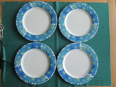 Set Of 4  Portmeirion Botanic Garden Blooms Hyadrangea Large  Dinner Plates New