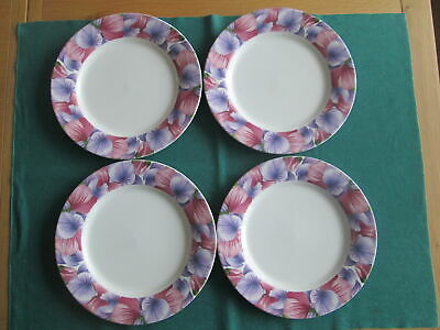 Set Of 4  Portmeirion Botanic Garden Blooms Sweet Pea Large  Dinner Plates New
