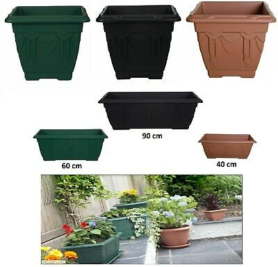 Plastic Square Rectangular Venetian Plant Flower Pot Pots Planter Container New