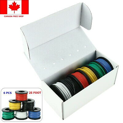 22 Gauge Hook Up Wire Kit 6 Color 25ft Silicone Rubber Insulate Electrical Wires