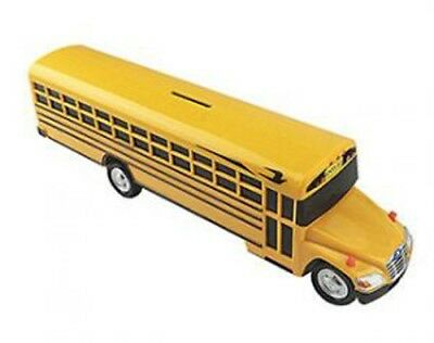 Bluebird Vision school bus coin bank with custom lettering