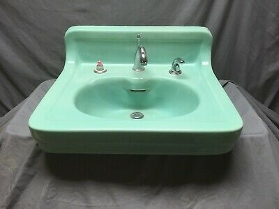 Antique Ceramic Aqua Marine Green Wall Mount Bath Sink Old Vtg Kohler 45-19E