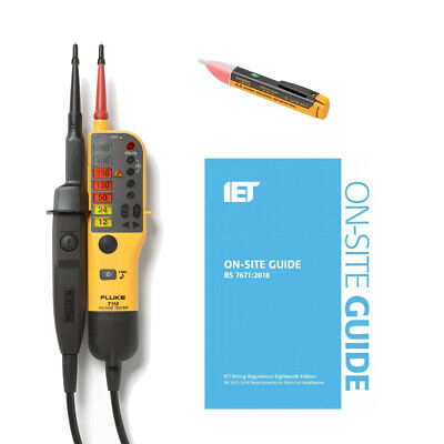 Fluke T110 Electrical Tester Kit & 1AC + BSI IET On-Site Guide for 18th Edition