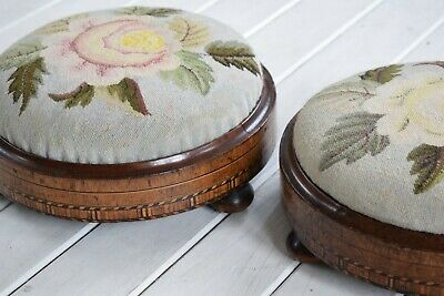 Pair of Victorian Walnut Parquetry Needlepoint Footstools,Antique Footstools