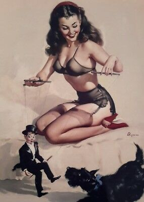 VINTAGE PIN UP GIL ELVGREN PUPPETS 7x5 PICTURE PRINT ART