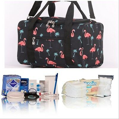 Pretty Flamingo pre-packed hospital/maternity bag mum-to-be newborn baby shower