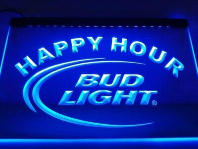 Bud Light Happy Hour budweiser LED Neon Bar Sign Home Light up Pub Beer Lager