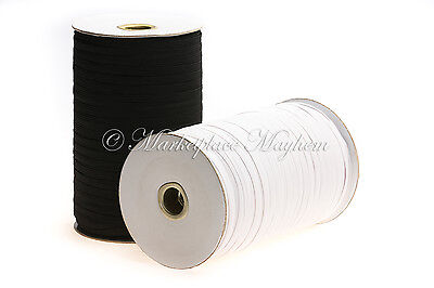 Flat Elastic - Corded - Sewing - Craft - White - Grey - Black - Range Of Lengths