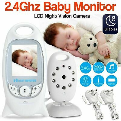 2 Baby Monitor 2.4GHz Color LCD Audio Talk Night Vision Wireless Digital Video
