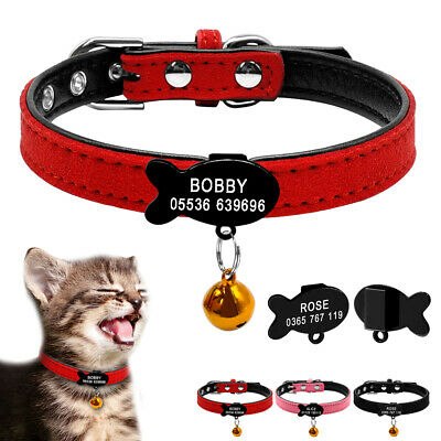 Personalised Cat Collar & Tag Padded Pet Puppy Kitten Fish/Bone Collar Tag XXS-S