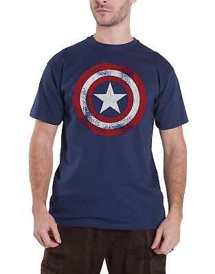 Captain America T Shirt Distressed Shield new Official Marvel Comics Mens Navy