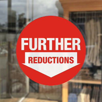 Further Reduction Window Stickers / Sale Shop Cling Window Stickers