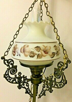 Vtg Hanging Swag GWTW Hurricane Victorian Glass ORNATE Lamp Light Flowers