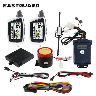 Easyguard 2 way motorcycle alarm system LCD pager shock sensor anti theft alarm