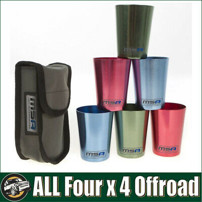 MSA 4X4 - Travel Cup Set of 6 Aluminium Large Camping Cups for Car Console TC6
