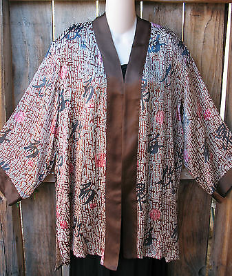 """Sale! Art To Wear Silk Kimono Jacket In Browns By A Touch Of Class,46""""B,Sz Large"""