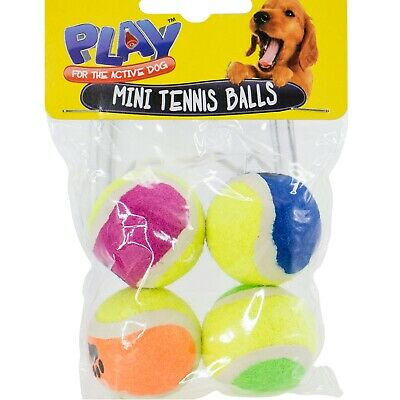 4pc Mini 4cm Dog Puppy Mini Tennis Balls Bite Teething Play Training Fun Toy
