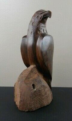 Vintage Carved Wood Eagle Bird Sculpture Ironwood Mid Century Modern