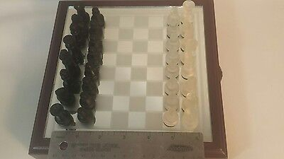 Glass Chess Set Elegant Pieces and Checker Board Game Black White Frosted