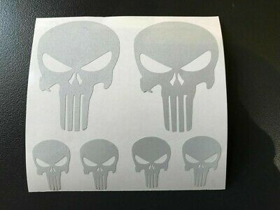 6 Sticker Retro Reflechissant Tete De Mort Casque Skull Punisher Moto