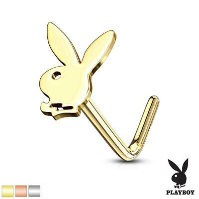 Playboy Bunny Top 316L Surgical Steel Nose L Bend Stud Ring