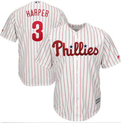 Bryce Harper #3 Philadelphia Phillies Cool Base Jersey Blue White Stitched New