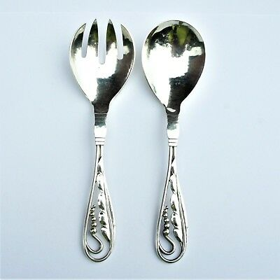 Rare Georg Jensen Sterling Silver Hammered Sm Salad Server Set Ornamental 1940