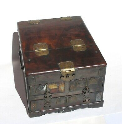 Antique Rosewood Brass Chinese Make-up Vanity Mirror Jewelry Box c1900