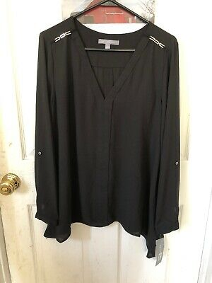 48a9c584f121f7 SANDRO PARIS BLACK Silk Blouse Size Large Brand New With Tags ...