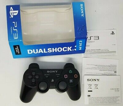 Official Boxed Sony Ps3 Dualshock Sixaxis Wireless Black Controller Pad Genuine