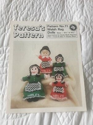 Vintage Welsh costume rag dolls and clothes Teresa's knitting pattern  no.11