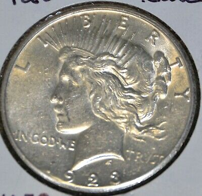 Au Almost Uncirculated 1923-S Peace Silver Dollar $1 Coin