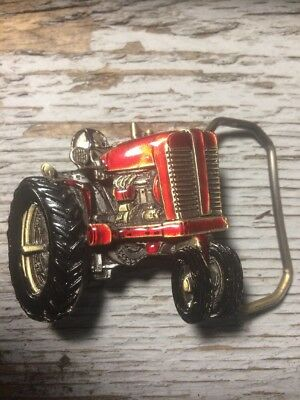 VINTAGE 1981 CUT-OUT RED *TRACTOR* Agriculture & Farming BELT BUCKLE Made in USA