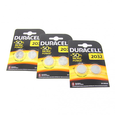 6x Duracell CR2032 3V Lithium Button Battery Coin Cell DL/CR/BR 2032 Exp2027 /UK