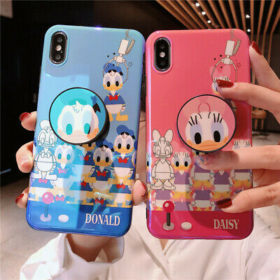 Cute Disney Daisy Donald Duck Holder Stand case cover for iPhone X XS Max 6 7 8+