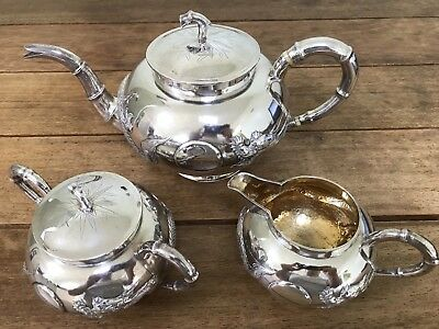 A Fabulous Antique Chinese Beautiful Silver Three Piece Tea Set