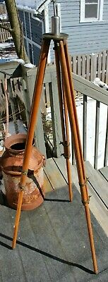 Antique Keuffel & Esser Co. Wood and Brass Surveying Transit Instrument Tripod
