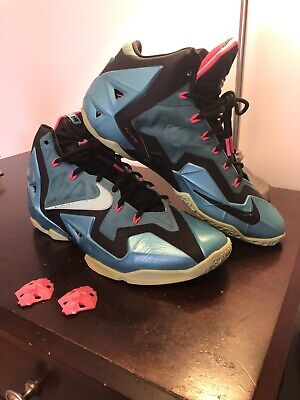 cheaper f7ccb 8826a Nike Lebron 11 XI South Beach Black Pink Mint Sport Turquoise 616175-330 sz  9.5