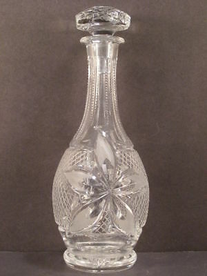 ~LG Antique Hand Cut Crystal Blown Glass Intaglio Flower Bottle Liquor Decanter~