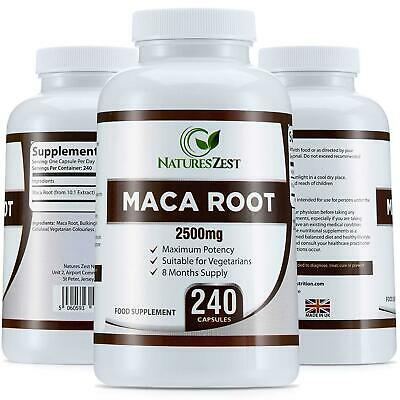 Maca Root Capsules 2500Mg, 240 (8 Month Supply) By Natures Zest, Not