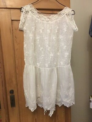 1920s Girls Drop Waisted Cotton And Lace Dress