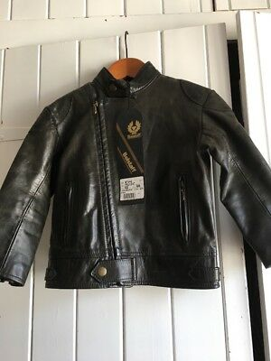 Genuine Vintage Belstaff Child's Boys Baby Leather Jacket. New With Tags. Size 2